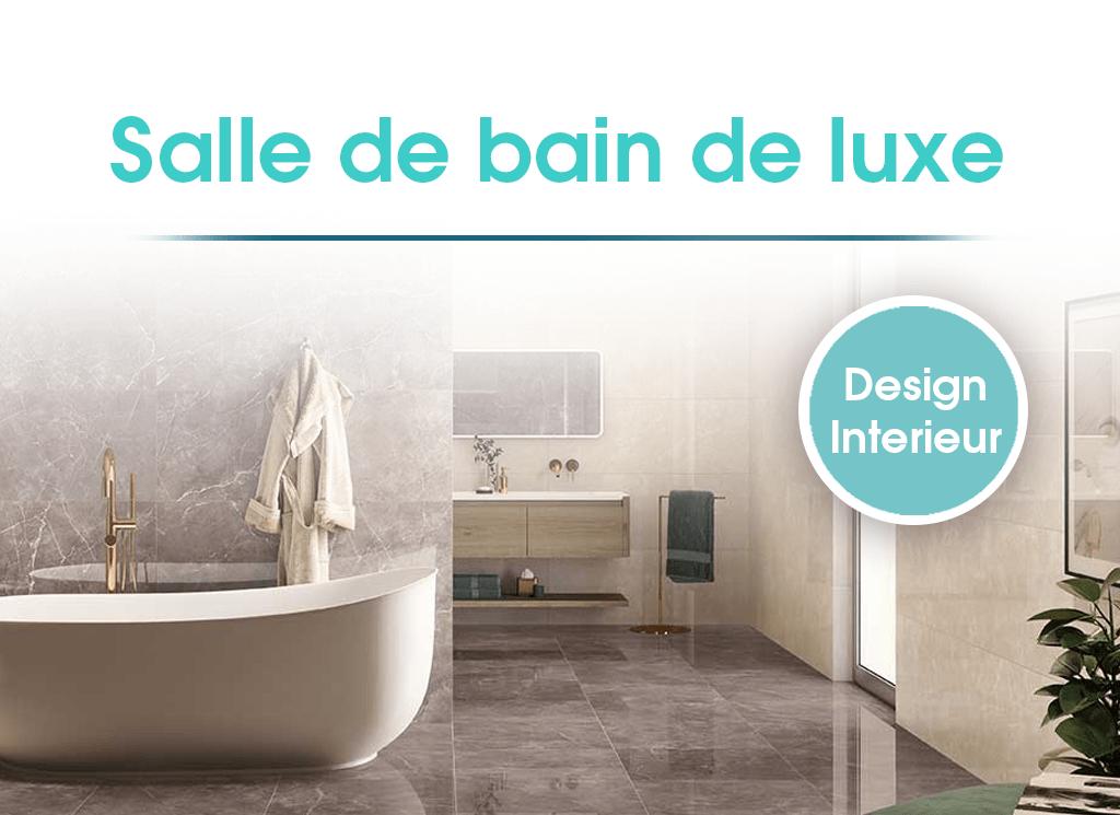 Salle de bain design avec baignoire îlot et vasque suspendue.