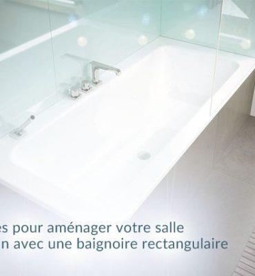 idées aménagement salle de bain avec baignoire rectangulaire