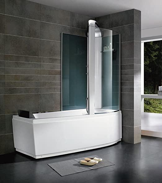 baignoire-douche en angle avec pare baignoire