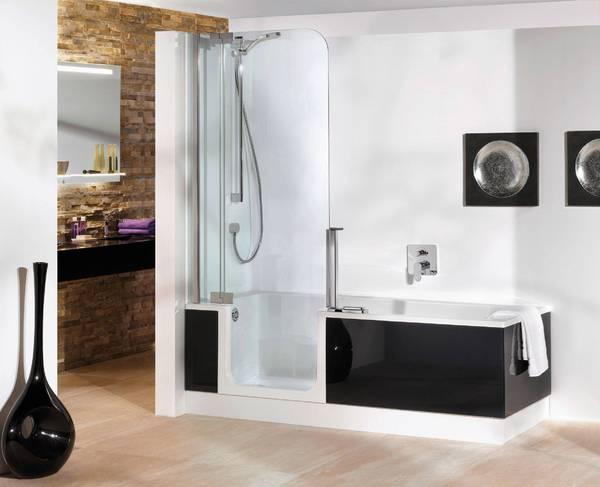 baignoire-douche en angle