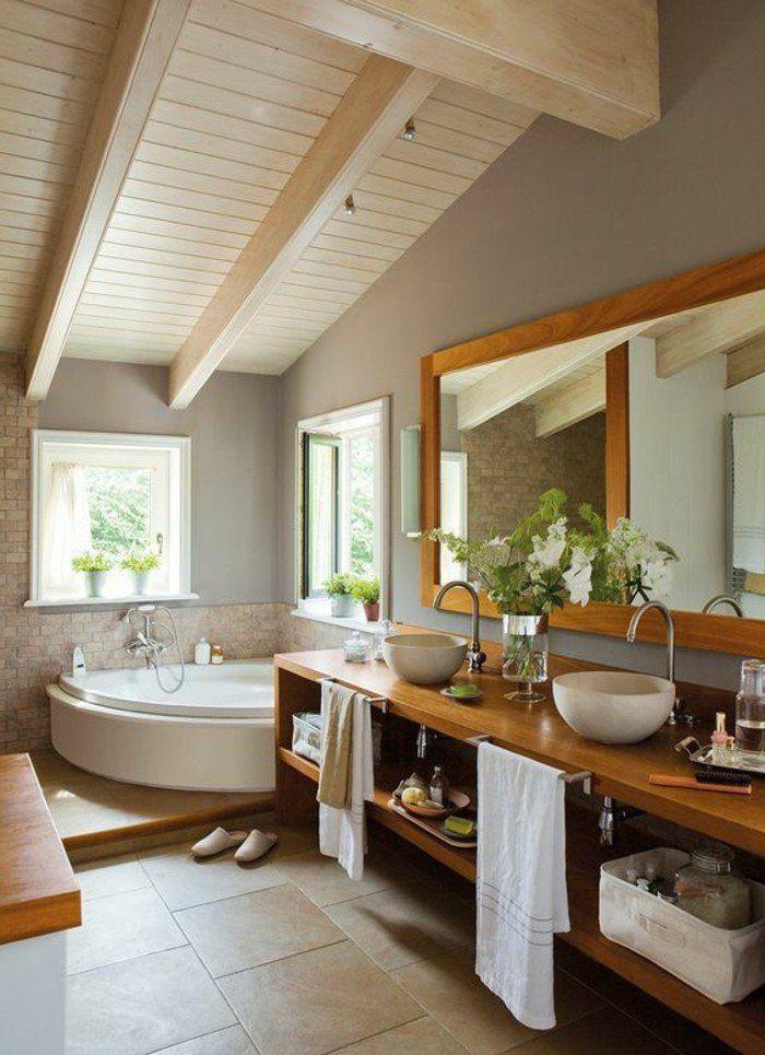 salle de bain bois et zen