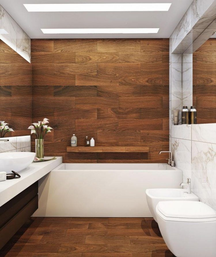 salle de bain bois avec baignoire