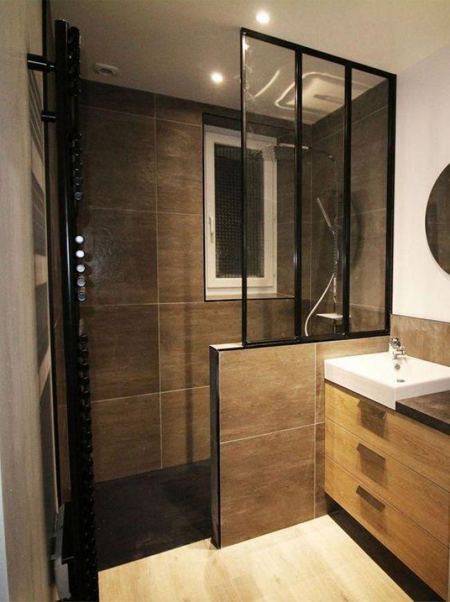 salle de bain carrelé marron