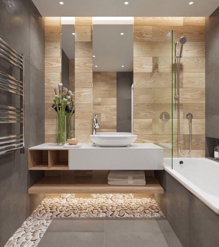salle de bain zen en bois et galés