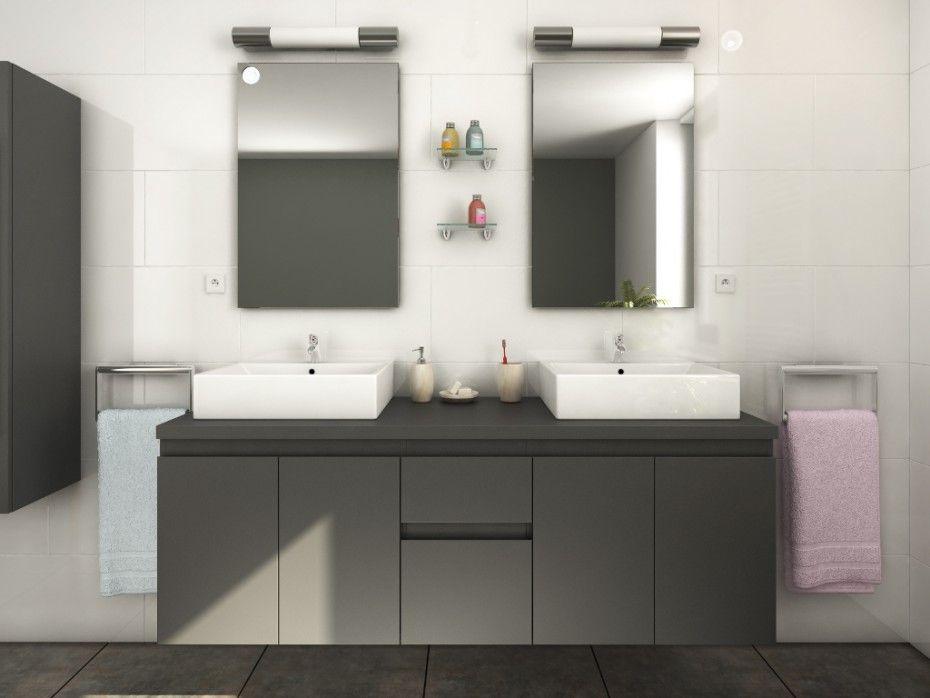 meuble de salle de bain avec double lavabo et double miroir