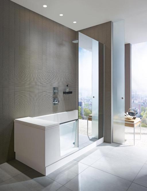 baignoire douche avec porte en verre