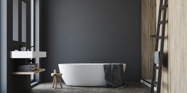 baignoires ilot dans salle de bain marron