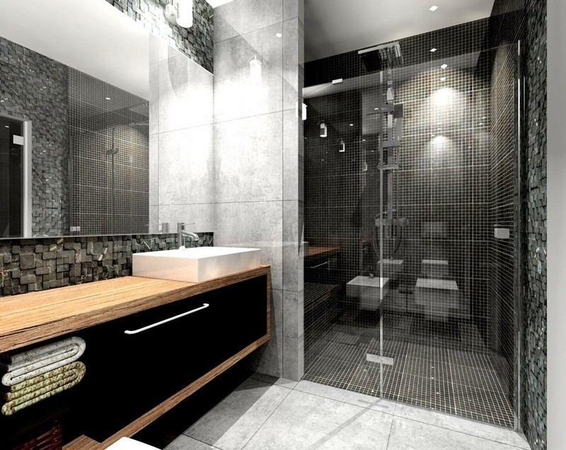 salle de bain noire et grise