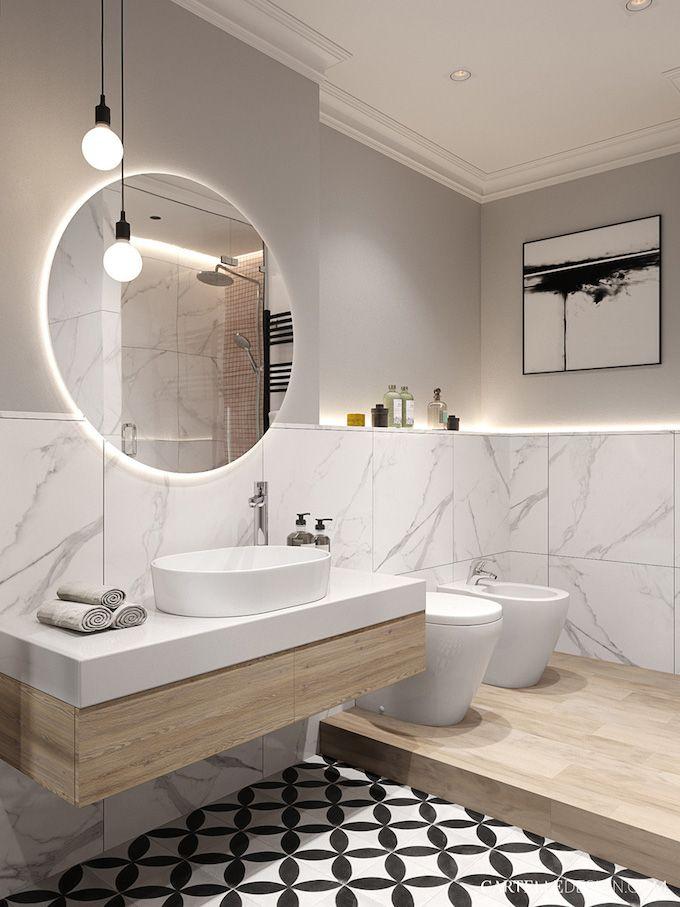 salle de bain avec sol carrelé