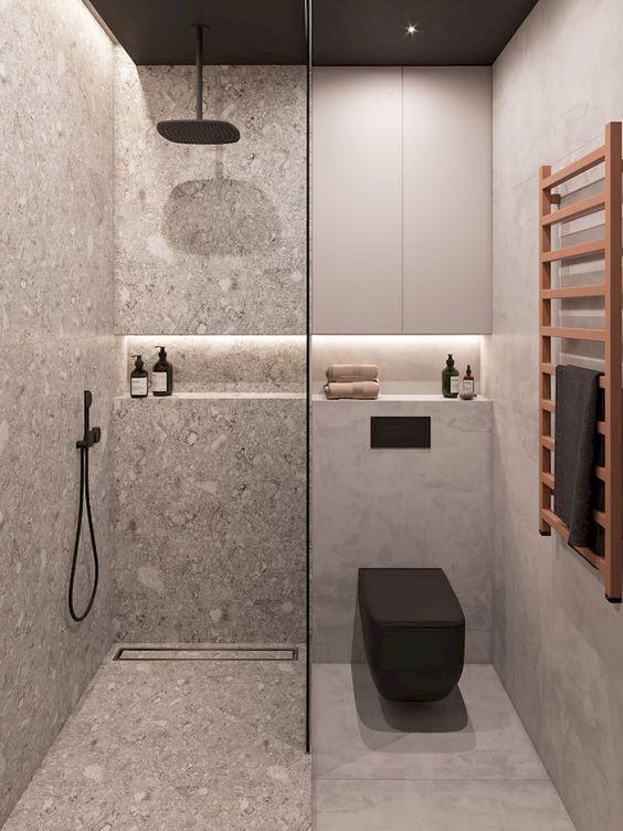 douche italienne grise avec toilettes