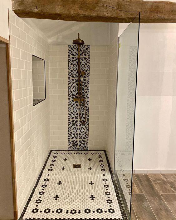 douche Italienne carreler avec vitre