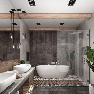 baignoire ilot dans salle de bain marron