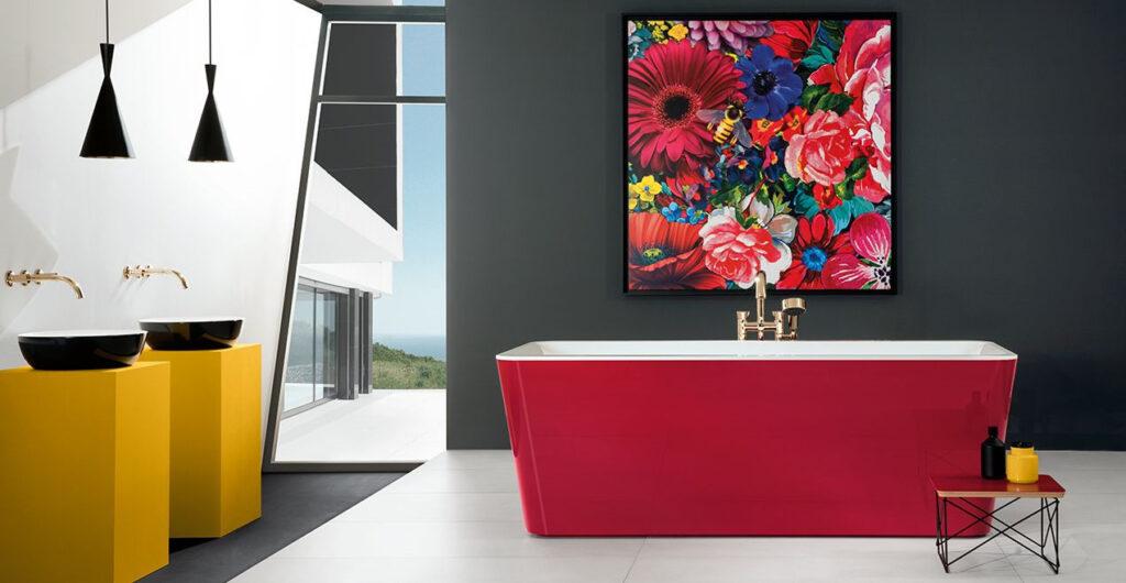 baignoire colorée rose