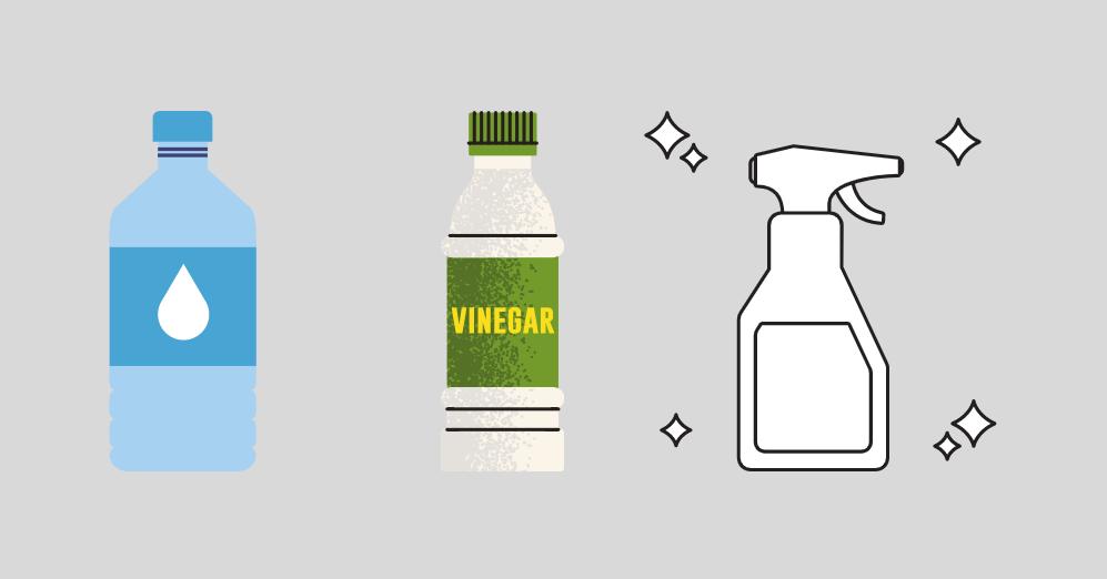 bouteille d'eau, de vinaigre et produit ménager