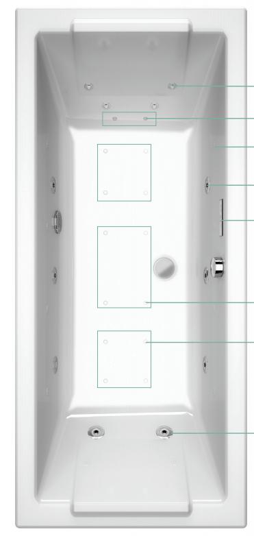 baignoire balneo allibert rectangulaire avec buses aparentes
