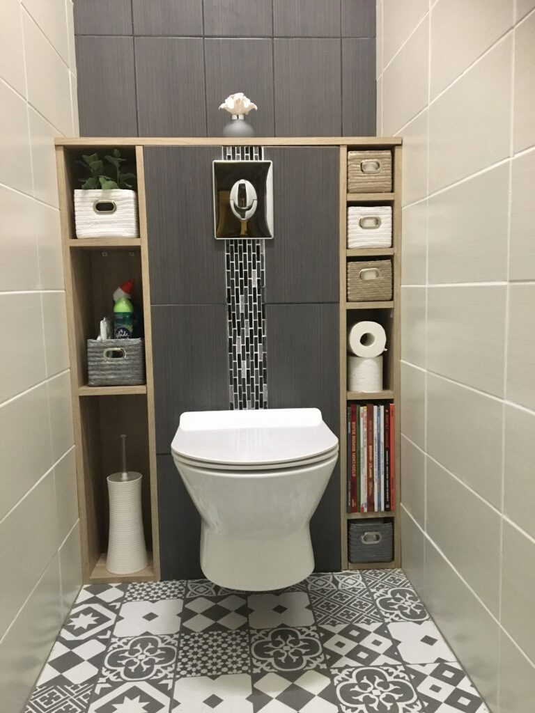 wc suspendu avec sol carreler