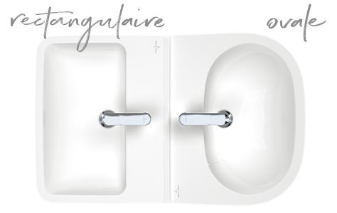 lavabo rectangulaire et ovale