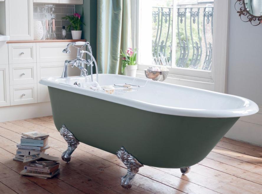 baignoire ilot verte avec mélangeur