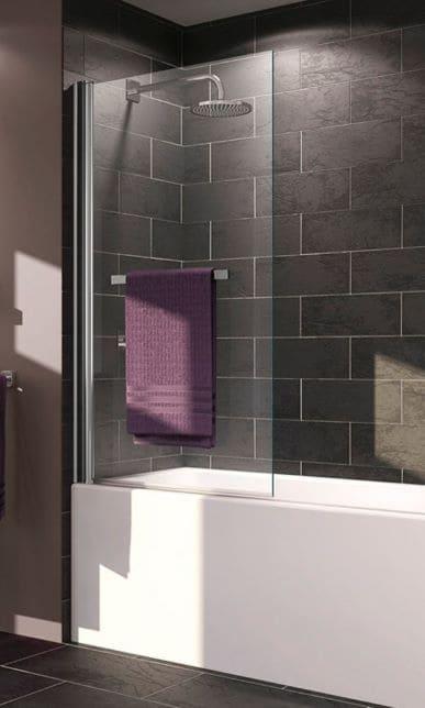 douche baignoire avec panneau en verre