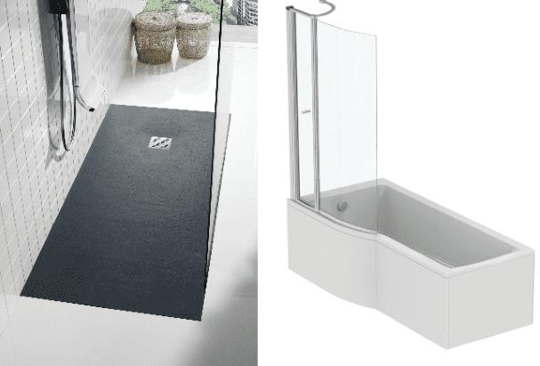 equipement sanitaitre avec baignoire et douche